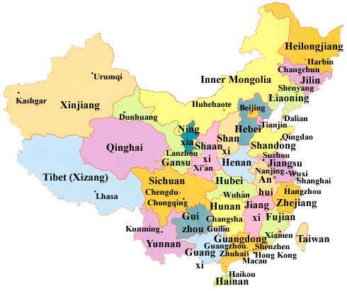 Map Of China Cities In English.China Travel Info